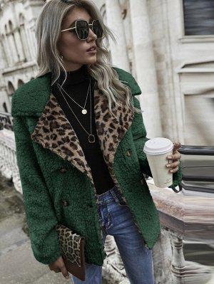 Двойная пуговица Леопардовый Повседневный Куртка