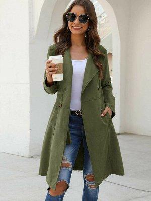 Двубортное пальто с карманом
