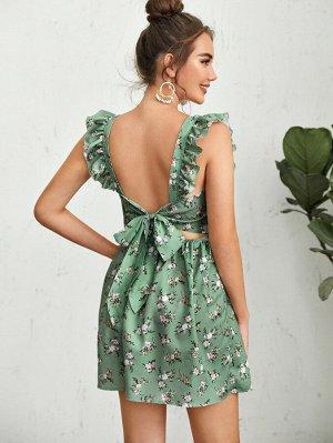 Платье с цветочным принтом, открытой спиной и ремешком