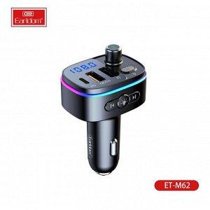 Автомобильное зарядное устройство Earldom M62 2*USB +1 Type C + FM-трансмиттер, 3.0A, черный, дисплей