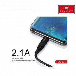 Кабель USB Earldom Nylon Micro USB 2.1А 1 м черный
