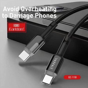 Кабель USB Earldom Nylon+Metal Type-C to Type-C 3.0А 2м черный