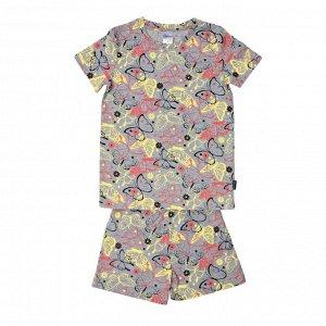 Пижама ЦВЕТ: серый меланж,  Замеры модели* * рост указан приблизительно, ориентируйтесь на замеры *Размер 3 (рост 92-98 см) футболка: длина 42 см, полуобхват груди 30 см, шорты: длина 22 см, полуобхв