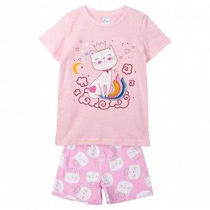 Пижама ЦВЕТ: розовый,  Замеры модели* * рост указан приблизительно, ориентируйтесь на замеры *Размер 3 (рост 92-98 см) футболка: длина 42 см, полуобхват груди 30 см, шорты: длина 22 см, полуобхват та