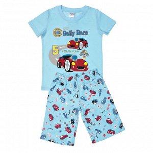 Пижама ЦВЕТ: голубой,  Замеры модели* * рост указан приблизительно, ориентируйтесь на замеры *Размер 3 (рост 92-98 см) футболка: длина 41 см, полуобхват груди 30 см, шорты: длина 34 см, полуобхват та