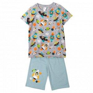 Пижама ЦВЕТ: серый,  Замеры модели* * рост указан приблизительно, ориентируйтесь на замеры *Размер 3 (рост 92-98 см) футболка: длина 41 см, полуобхват груди 30 см, шорты: длина 34 см, полуобхват тали