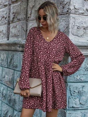 Платье с v-образным воротником и цветочным принтом