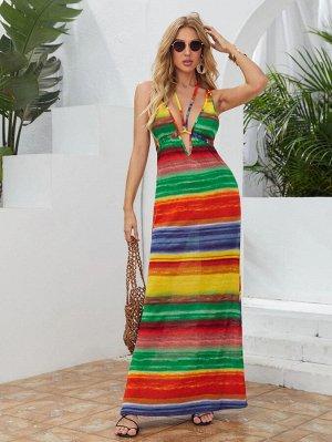 Платье в радужную полоску с вырезом на спине