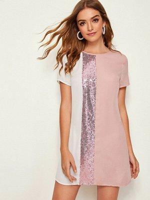Контрастное платье с блестками