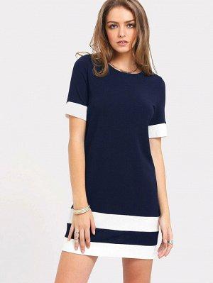 Синее Платье С Белыми Полосками