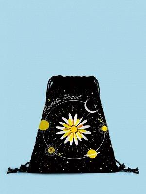 Рюкзак Тип: Рюкзак на шнурке Стиль: Модный Цвет: Чёрный Размер сумки: большой Принт: Со цветочками Материал: Полиэстер ингредиент: 100% Полиэстер