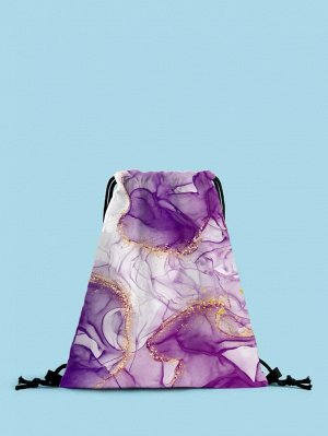 Рюкзак Тип: Рюкзак на шнурке Стиль: Модный Цвет: Пурпурный Размер сумки: большой Принт: Мрамор Материал: Полиэстер ингредиент: 100% Полиэстер