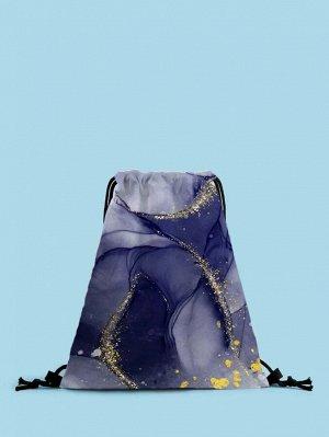 Рюкзак Тип: Рюкзак на шнурке Стиль: Модный Цвет: Синий Размер сумки: большой Принт: графический принт Материал: Полиэстер ингредиент: 100% Полиэстер