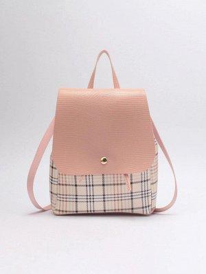 Рюкзак Тип: Рюкзак с клапаном Стиль: Институтский Цвет: Розовые Размер сумки: маленький Принт: Клетка Материал: Искусственная Кожа ингредиент: 100% Искусственная Кожа