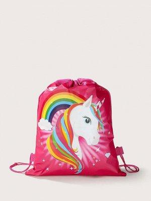 Рюкзак Тип: Рюкзак на шнурке Стиль: Институтский Цвет: Красный Размер сумки: средний Принт: Мультяшный принт Материал: Нейлон ингредиент: 100% Нейлон