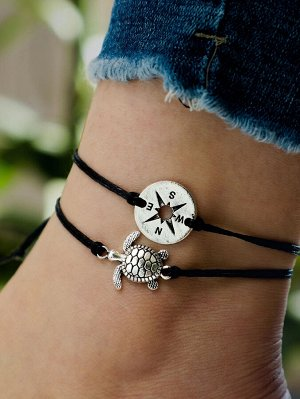 Комплект браслетов на ногу с украшением черепахи 2 шт