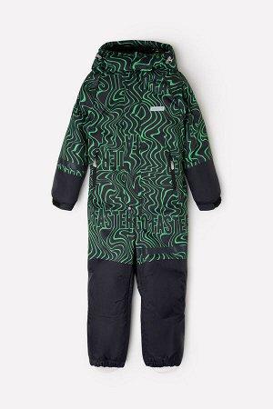Комбинезон(Осень-Зима)+boys (черный, ярко-зеленые волны)