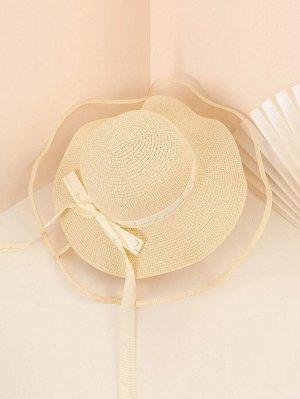 Соломенная шляпа с платком твилли и текстовым принтом