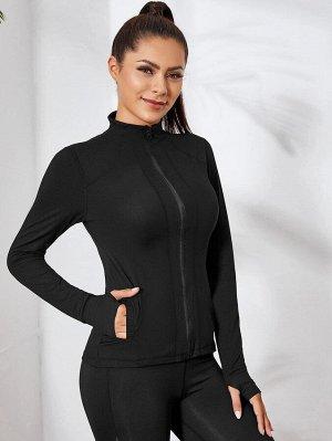 Спортивная куртка на молнии с отверстием для большего пальца