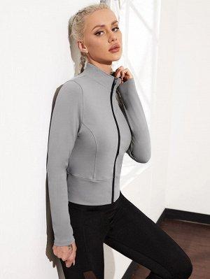 Спортивная куртка на молнии с воротником-стойкой
