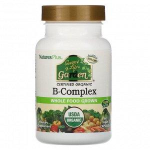 Nature's Plus, Source of Life Garden, сертифицированный органический комплекс витаминов группыB, 60растительных капсул