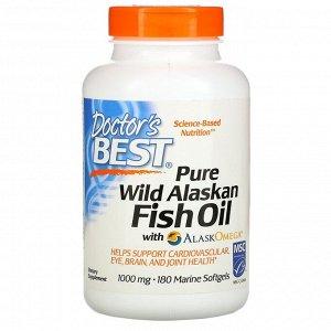 Doctor's Best, Чистый рыбий жир из дикой Аляски с  AlaskOmega, 180 морских мягких капсул