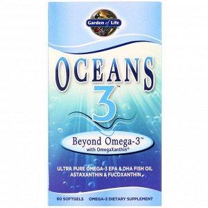 Garden of Life, Oceans 3, Beyond Omega-3 с омега-ксантином, 60 желатиновых капсул