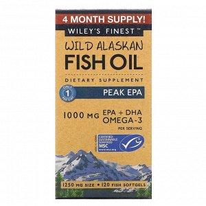 Wiley's Finest, рыбий жир диких аляскинских рыб, максимальное содержание ЭПК, 1250 мг, 120 рыбных капсул