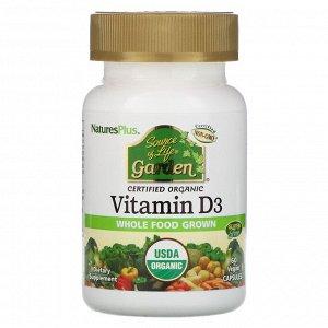 Nature's Plus, Source of Life, Garden, витамин D3, 60 веганских капсул