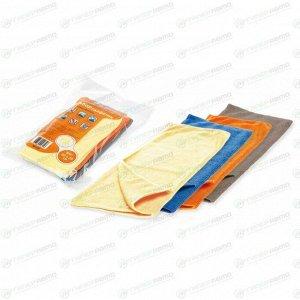 Салфетки Airline, для сухой и влажной уборки, из микрофибры, 200x200мм, оранжевая, синяя, жёлтая и серая, комплект 8 шт, арт. AB-V-04