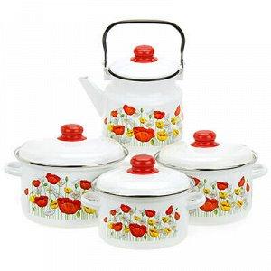 """Набор эмалированной посуды """"Луговой мак"""" 4 предмета: кастрюл"""