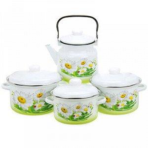 """Набор эмалированной посуды """"Ромашковое поле"""" 4 предмета: кас"""