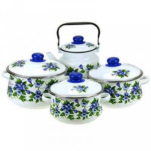 """Набор эмалированной посуды """"Забава"""" 4 предмета: кастрюля - 2"""