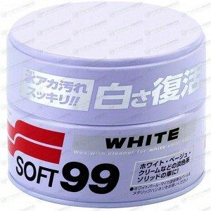 Полироль кузова Soft99 Soft Wax, защитный, с воском карнаубы, для светлых автомобилей, банка 350г, (+губка), арт. 00020