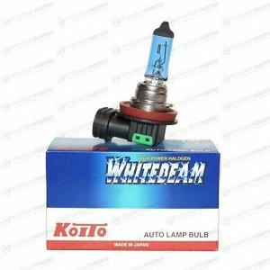 Лампа галогенная Koito White Beam H11 (PGJ19-2, T11), 12В, 55Вт (соответствует 100Вт), 4000К, 1 шт