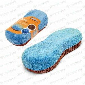 Губка Airline, для мытья, поролон и микрофибра, с коралловой тканью, 240x110мм, синяя, арт. AB-K-02