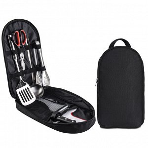 Универсальный походный столовый набор 9-в-1 в сумке-органайзере - Включает в себя все, что понадобится для приготовления любых блюд на природе - кухонная лопатка, черпак, лопатка для круп, столовый но