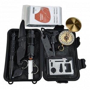 Аварийный набор выживания 10-в-1 в кейсе (A6) - Отличный подарок для любителей приключений на открытом воздухе, военнослужащих, кемперов, туристов, охотников или даже постоянных путешественников. Тако