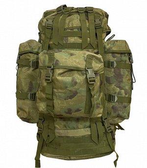 Большой тактический рюкзак спецназа (100 литров, А-TACS/мох) - (CH-096) Ремни и лямки оснащены D-образными кольцами для крепления дополнительных аксессуаров и снаряжения. Навесные карманы легко отстег