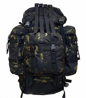 Тактический рюкзак большого объема (100 литров, Black Multicam) - Широкие плечевые ремни и пояс с мягкой подкладкой помогают равномерно распределить вес и уменьшить давление. Ремень легко снимается с