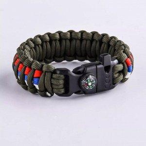 Тактический браслет из паракорда хаки, триколор (компас, свисток и огниво) №41