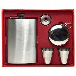 Подарочный набор: фляжка из нержавеющей стали, стаканчик, стопки, воронка - отменный знак внимания, который можно купить к 23 февраля №56