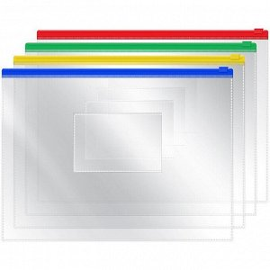 Папка-конверт на молнии, A5, 120мкм, прозрачная