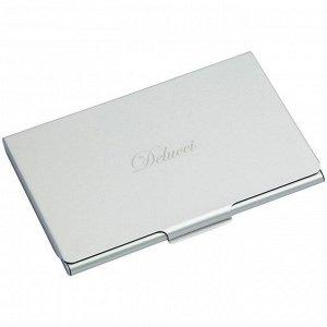 Визитница карманная Delucci из алюминия серебристого цвета, подарочная упаковка
