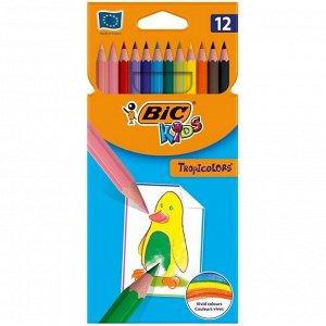 """Карандаши цветные пластиковые Bic """"Tropicolors2"""", 12цв., заточен., картон, европодвес"""