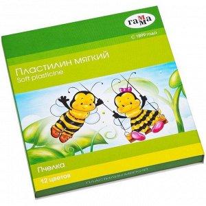 """Пластилин Гамма """"Пчелка"""", 12 цветов, восковой, мягкий, 180г, со стеком, картон"""