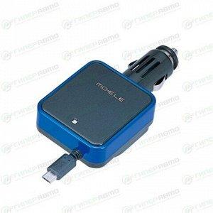 Зарядное устройство в прикуриватель Carmate 12В, 1xMicro-USB (1.2А), черно-синее, с удлинителем, арт. ME139