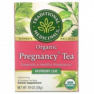 Traditional Medicinals, органический чай для беременных, листья малины, без кофеина, 16 чайных пакетиков, 28 г (0,99 унции)