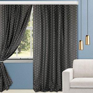 Комплект штор для гостиной, кухни Гэтсби графит 200х270 см, 777-3044/2