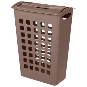 Корзина для белья, узкая, с поворотной крышкой, пластик, коричневый, 580 х 430 х 260 мм, 1/6